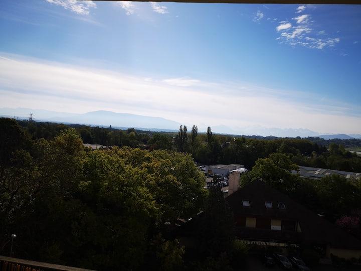 Beau Studio proche Aéroport - vue sur Mont-Blanc!