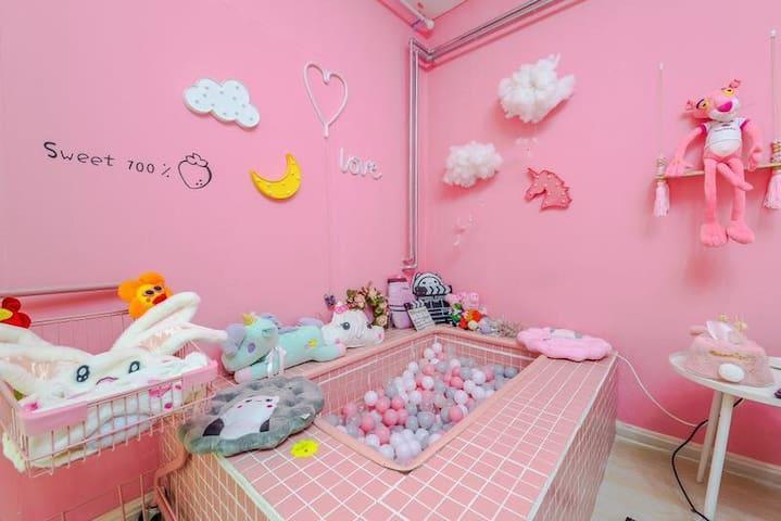 【兔兔糖】市南区德国老别墅|网红大学路&鱼山路&海洋大学&鲁迅公园&第一海水浴场|粉色少女风海洋球池
