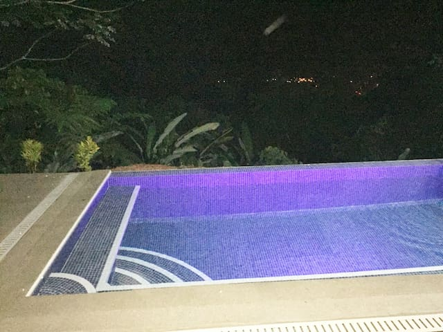 Night swimming with the lights of Uvita down below.