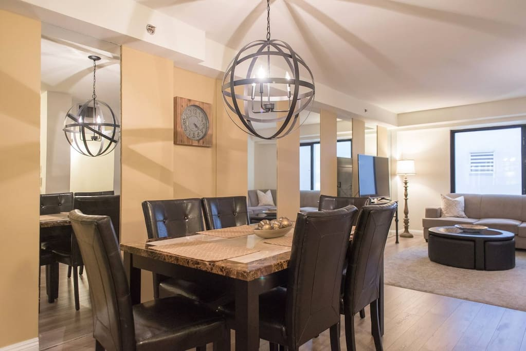 We love open concept dining and living areas. They allow our group to come together organically.