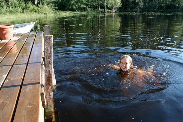Ødegården Sjövik ved stor sø