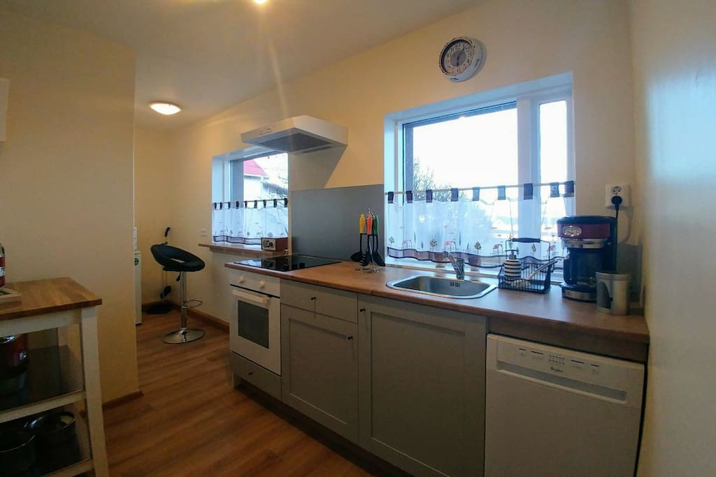 Kitchen . Fully equipped. amazing view towards the harbour