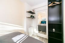 3 Bedroom image after the redecoration works (January 2019) with more space for storage, a mirror and settled colours