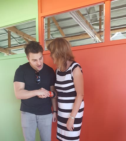 Jean meeting Brian Chesky, CEO of Airbnb, at a Langa Entrepeneur iniative. Cape Town 2017.