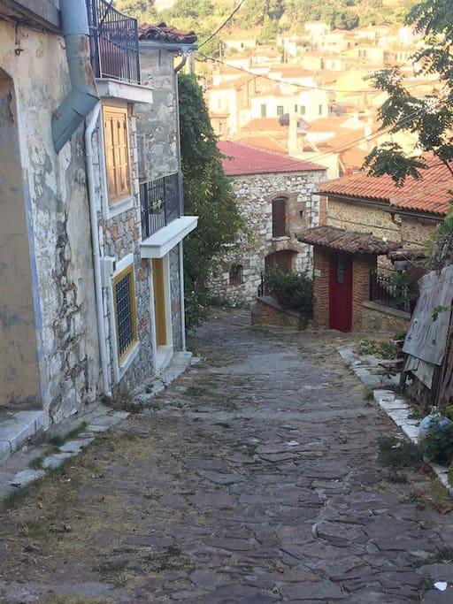 In the cobblestone streets