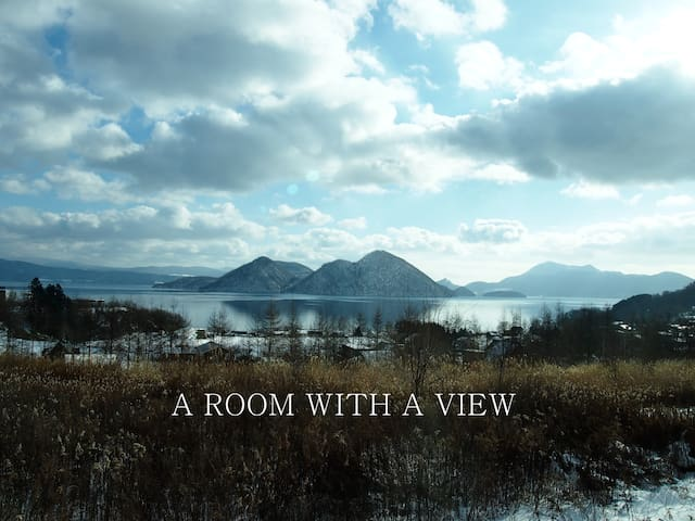 Perfect view rooms in family home in Lake Toya