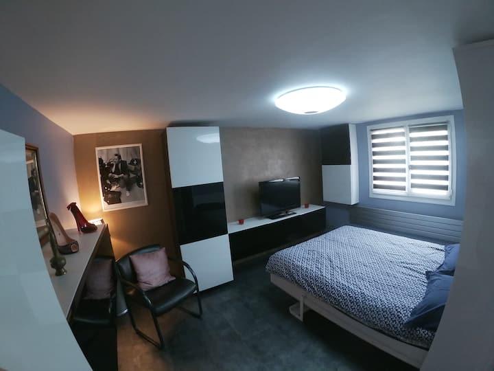 Studio moderne dans une maison aux bords de Marne
