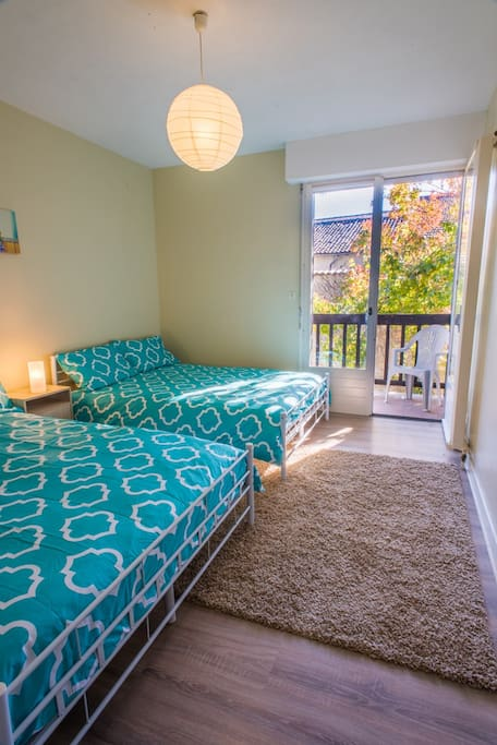 Twin share accommodation, double beds, with ensuite