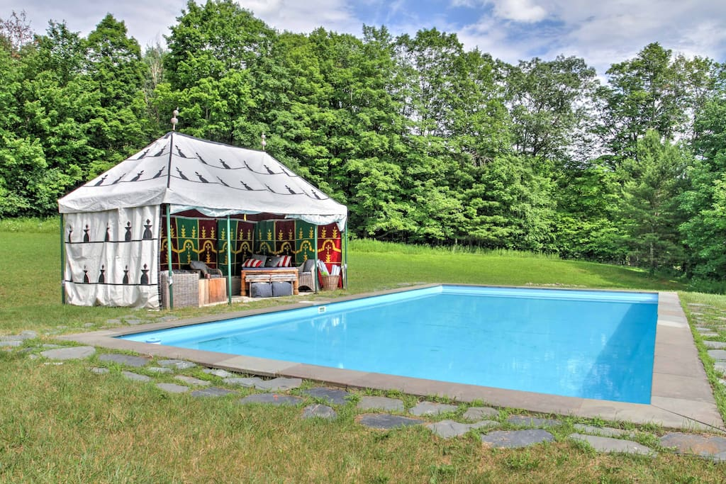 Cool off on hot days in the private swimming pool.