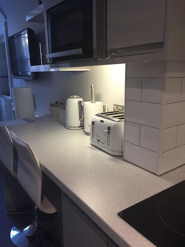 Breakfast bar and microwave