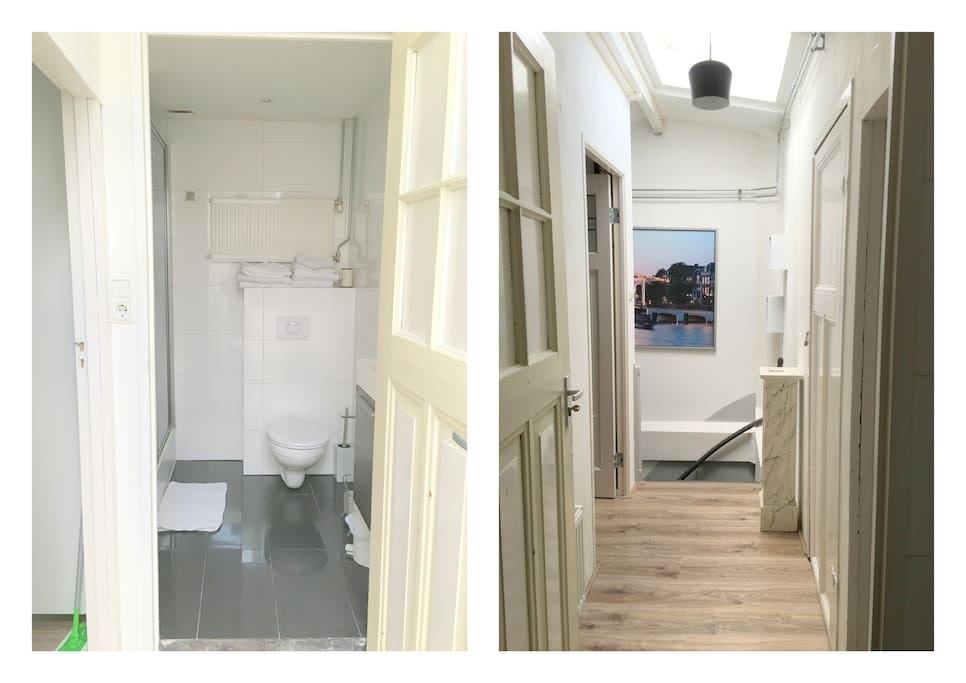 Toilet / shower and hallway