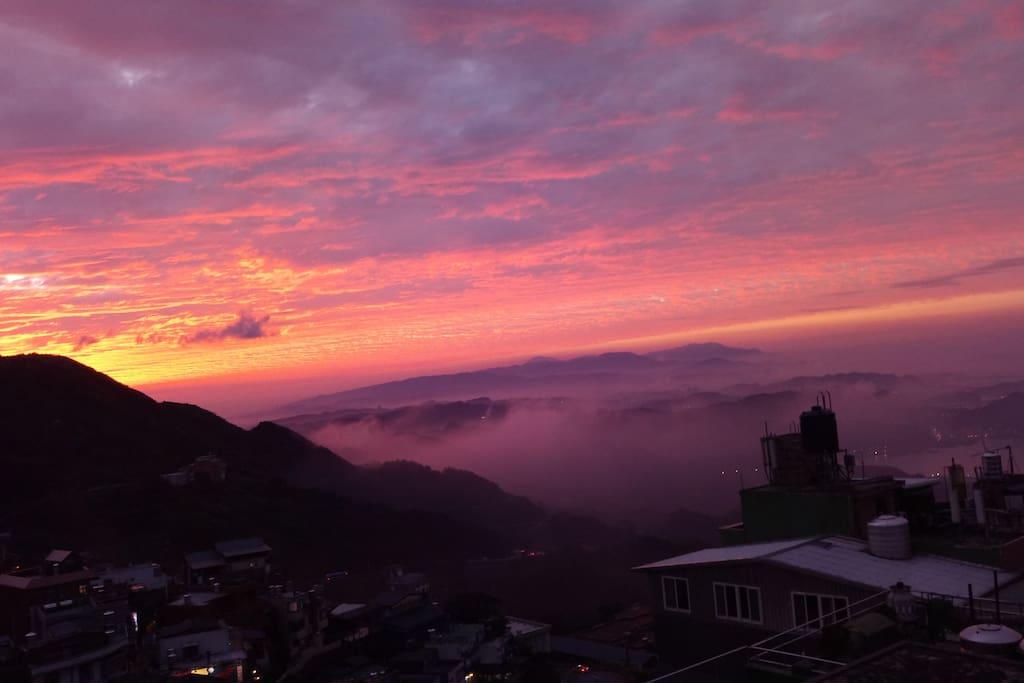 景觀陽台夕陽