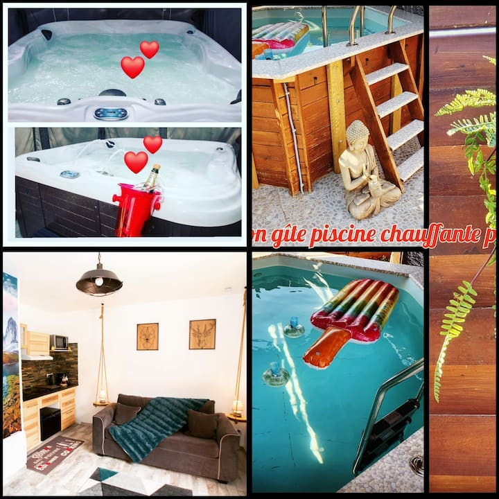 Chalet Spa et Piscine chaufe privatif 1.30  Paris.