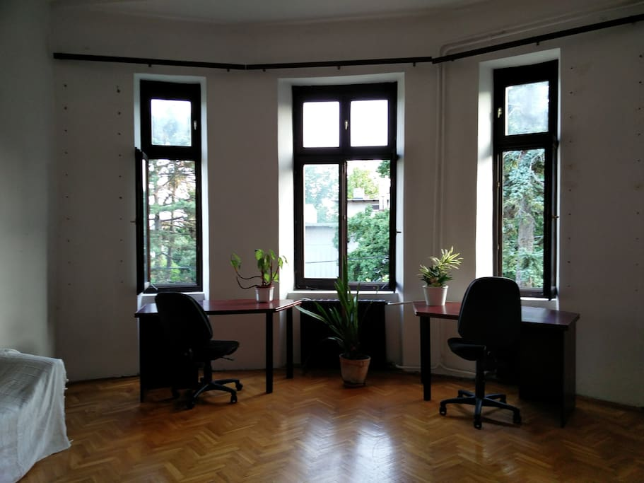 The biggest room (28 square meters) preserves the authentic style and has a view to a garden