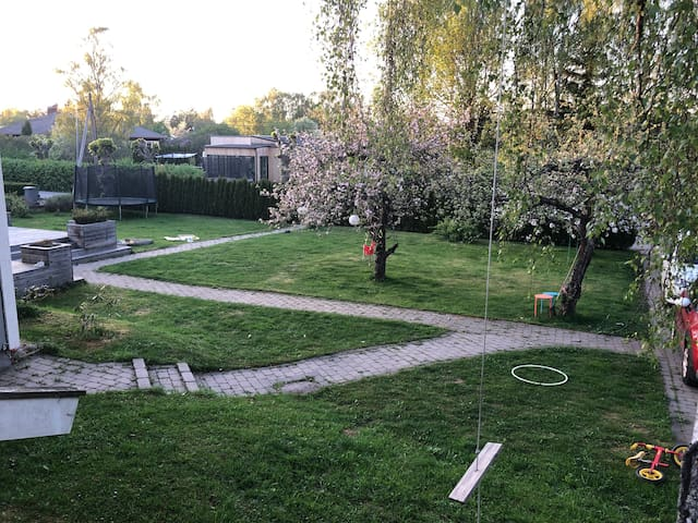 There are four different swings in the garden, and the possibility to hang a hammock beneath the apple trees.