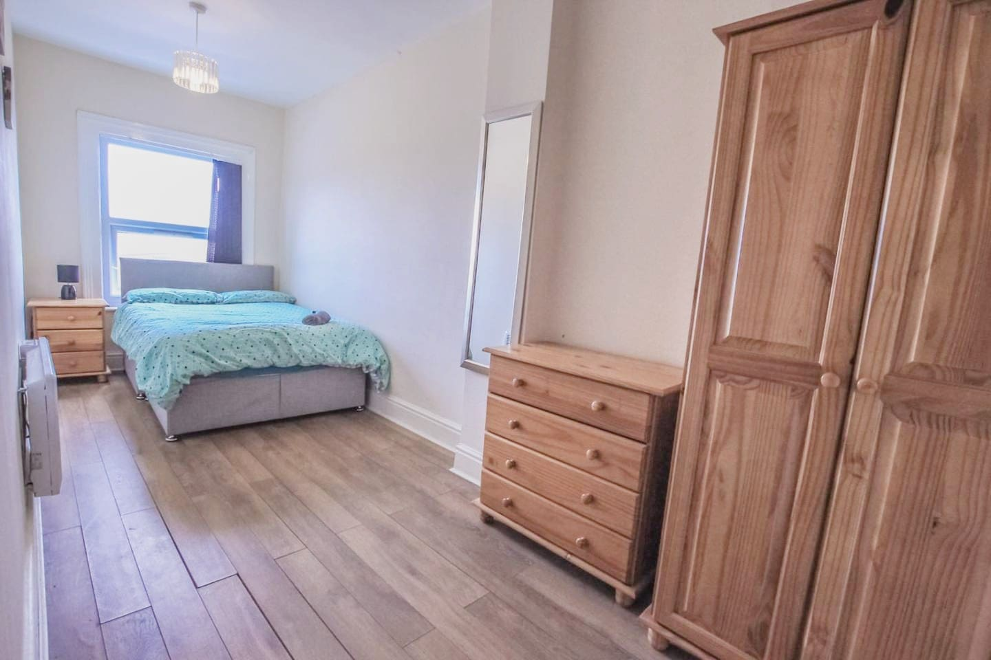 Private small bedroom with shared bathroom, living room and kitchen. Double bed ideal for a couple or single person.  Room number A4 with Chester drawer, night table, wardrobe, table and chair + Free towels/Shampoo/Tea/coffee/sugar/salt/pepper/oil.