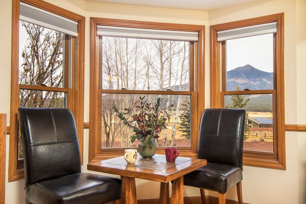 Take some time to enjoy the incredible views of the San Francisco Peaks from the sitting area in the Ponderosa Room.
