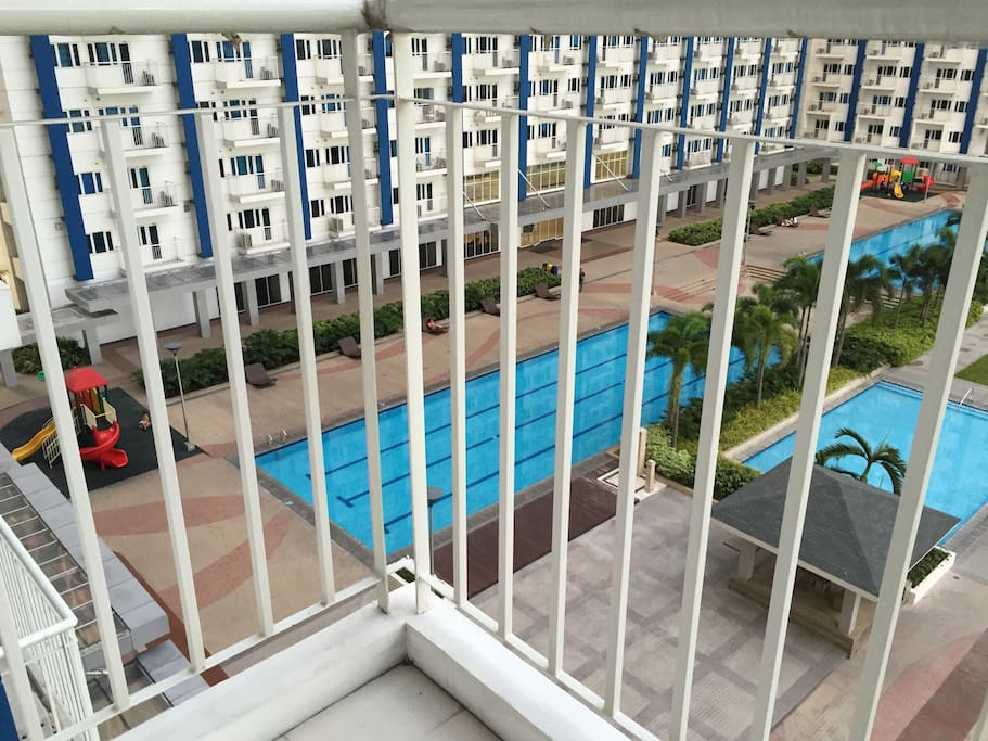 View of Light Residences pool and common area from the unit balcony