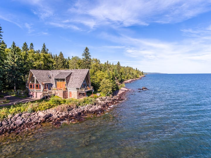 Always Grace is a uniquely beautiful home on the shores of Lake Superior near Grand Marais, MN