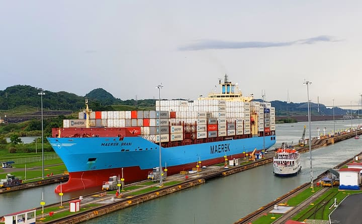 Container Ship at the Panama Canal