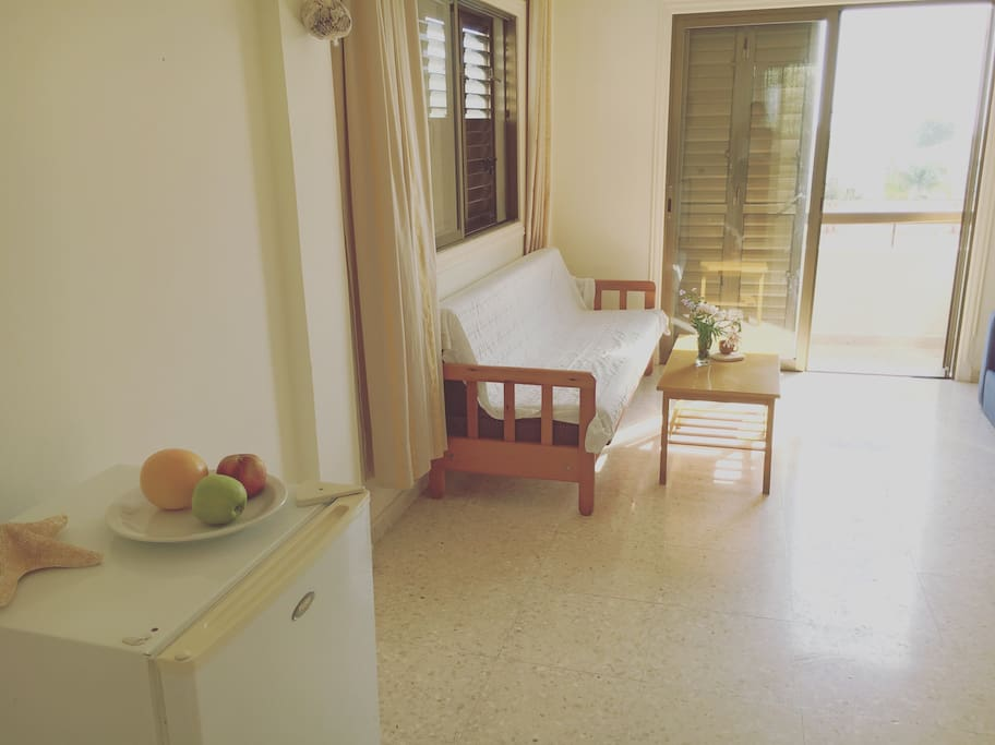 Kitchen and living room with two double sofa bed and a small front balcony with sea view