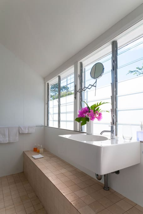 Gaze down to a forest of green, from your shower.