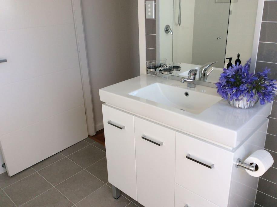 Vanity in bathroom.