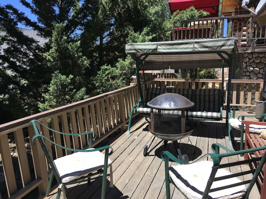 Enjoy the amazing back deck . Much bigger than this photo shows