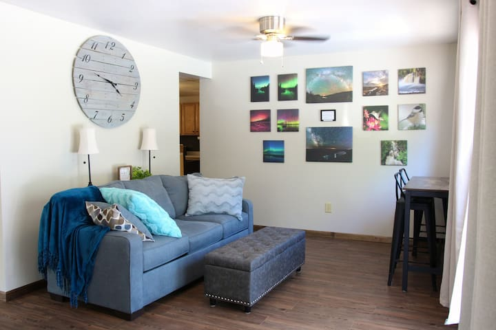 Our sun room offers a pull out couch and more seating.  As well as photos available to purchase from a local photographer of our area.