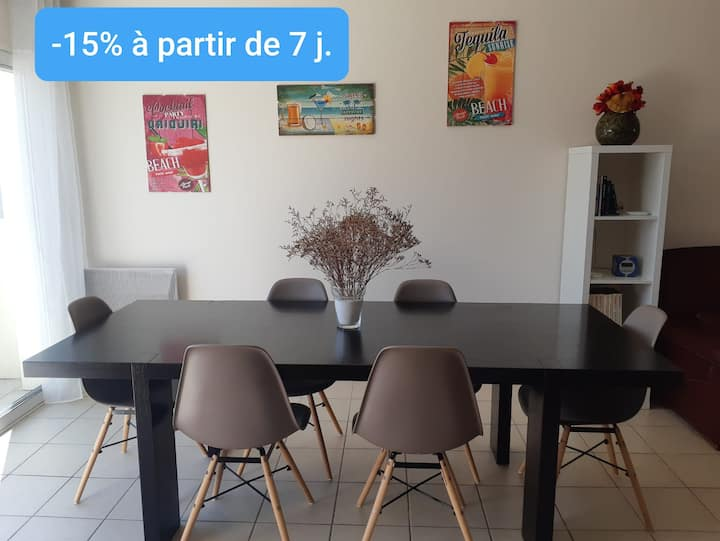 La Tremblade centre : appartement 4 pers (2 ch).