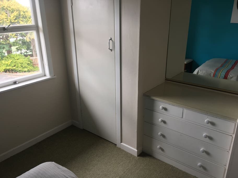 Large mirror drawer and wardrobe spaces