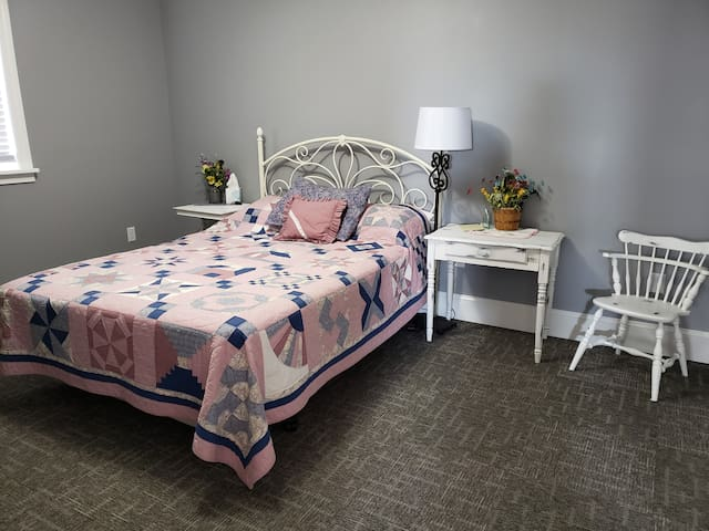 Spatious rooms easily accommodate the queen size bed and an inflatable air mattress if needed.