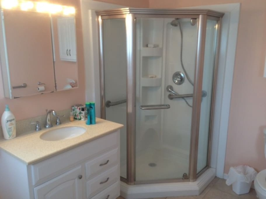 large downstairs bathroom and shower