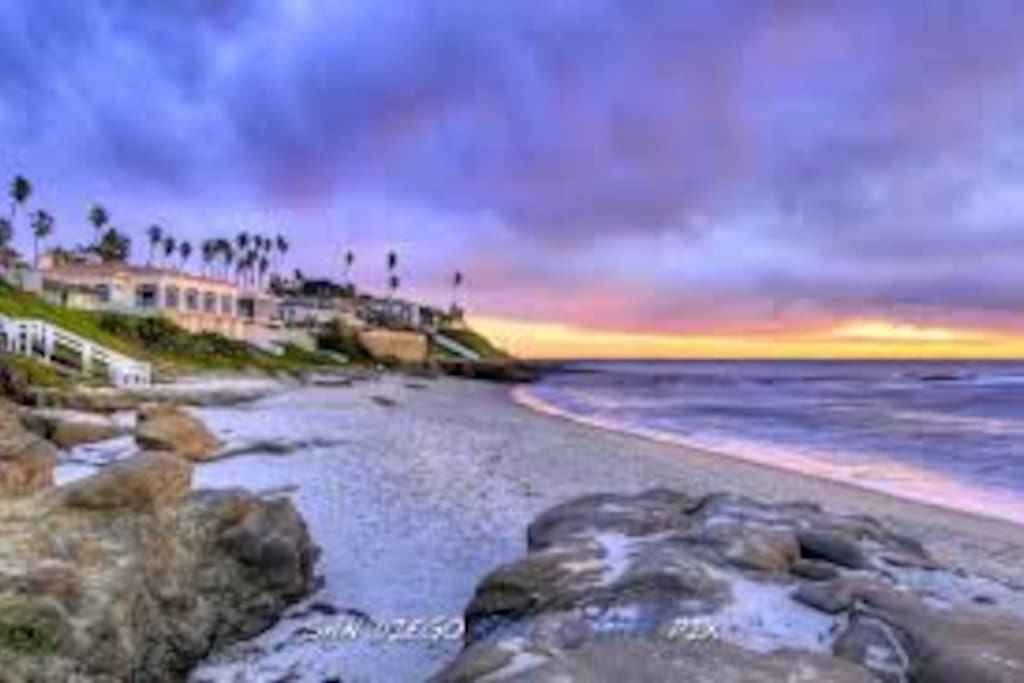 One block from the most beautiful beach in all of San Diego, the coveted Wind an Sea beach.
