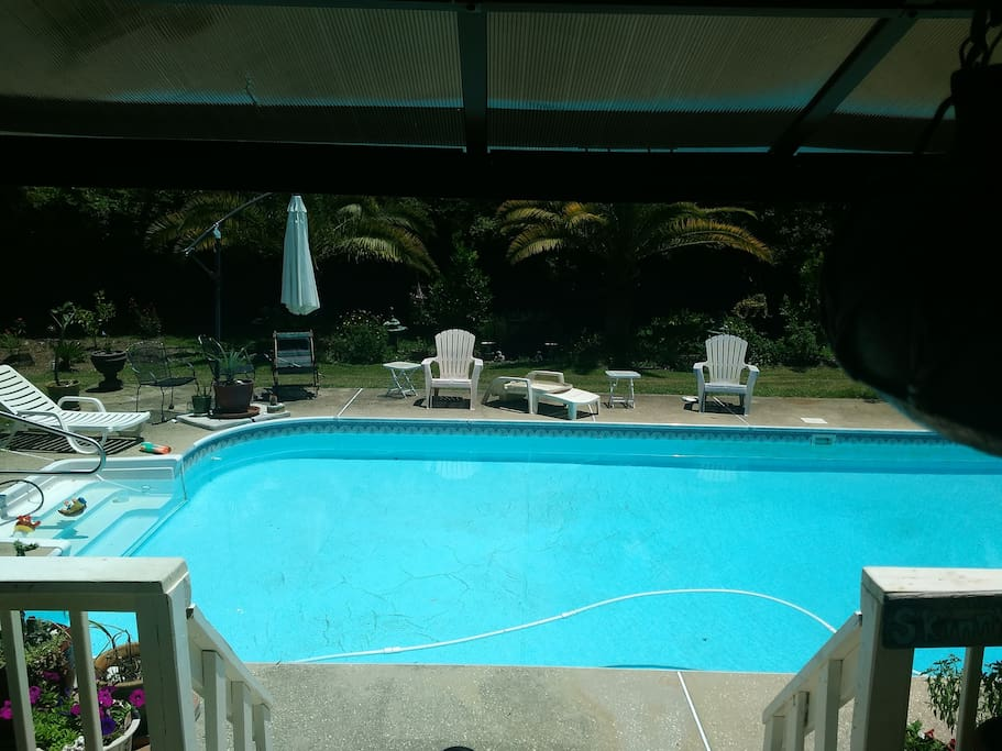 Pool from raised deck.