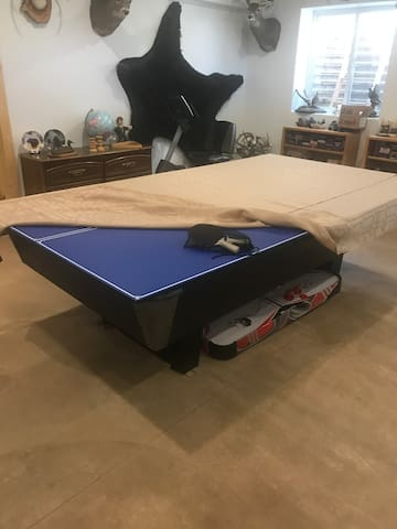 Ping pong table over the pool table folds up and you can set it aside to play pool.  Or leave it covered for dining.