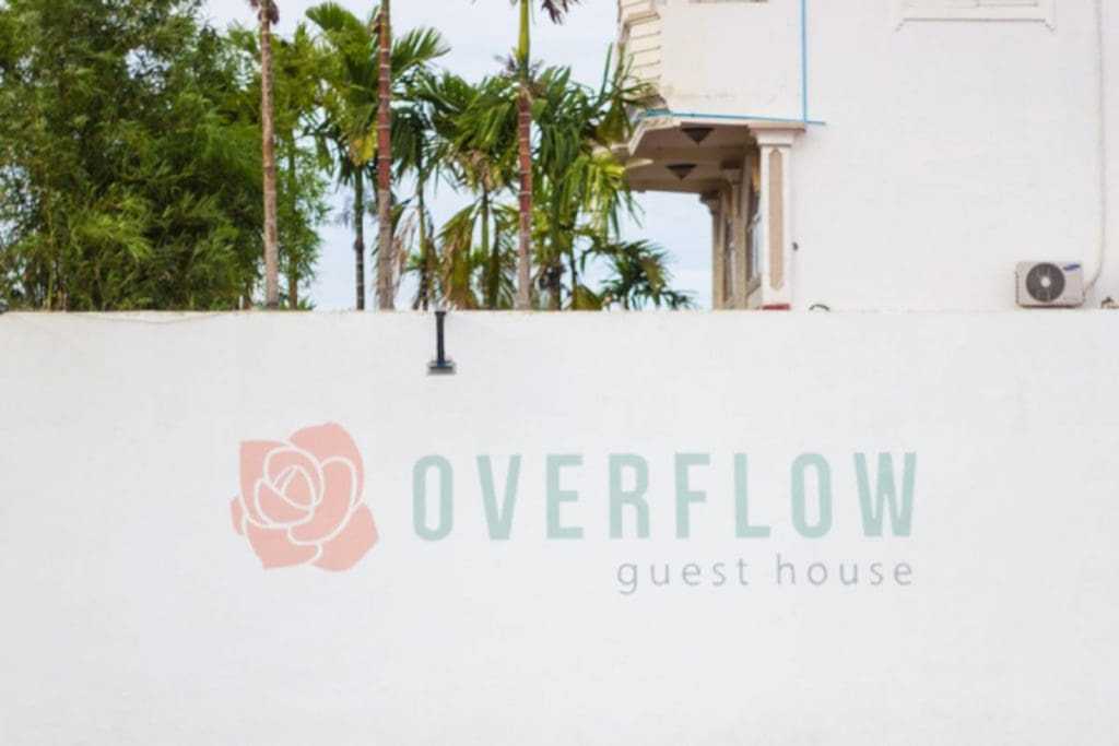 As you drive up to Overflow Guesthouse, you'll see our logo next to a lily pond