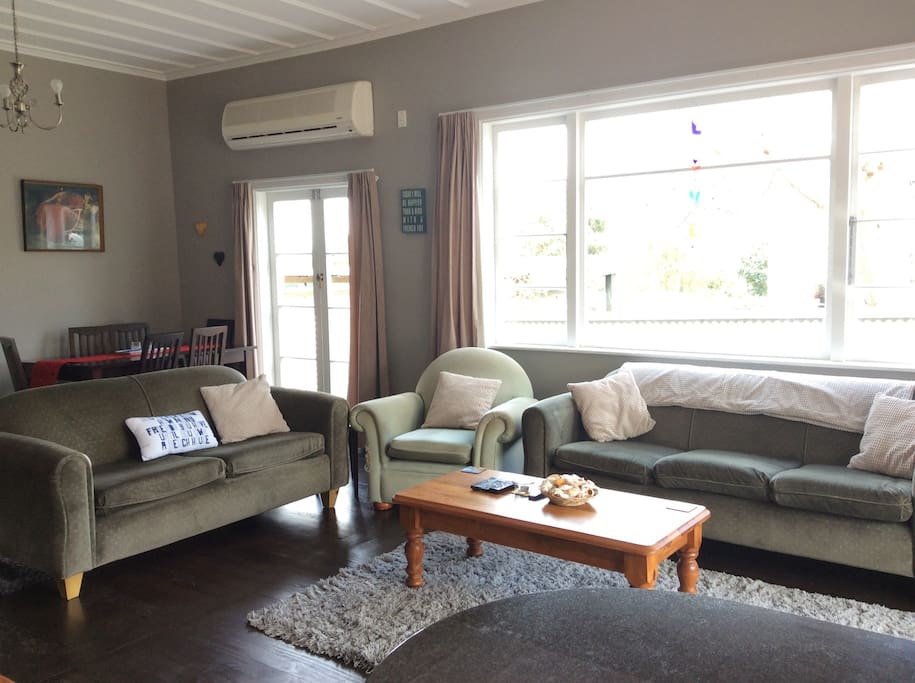 Lounge area, with comfy couches and heat pump