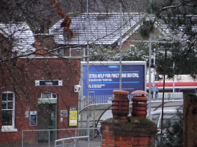 Taken from bedroom window, Horley Railway station with Gatwick train at Platform 2. We are the nearest airbnb to the station.