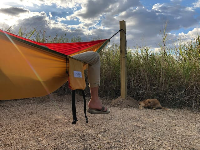 The Heavenly Hammock is perfect for a siesta after a morning hike. It is located down the Terlingua Trail.