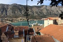 Wonderful sea and mountain view from our terrace in old town.