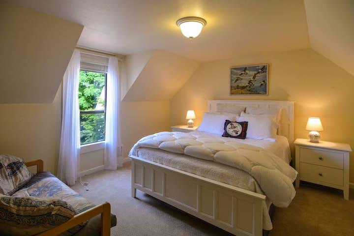 Queen bedroom with futon