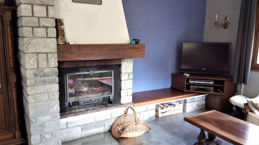 Salon avec cheminée / coin TV