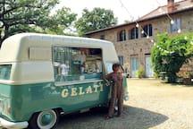 A vintage 1967 VW van with gelato at the villa