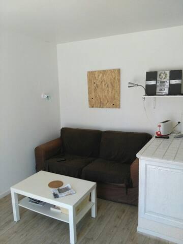 Coin salon avec canapé lit