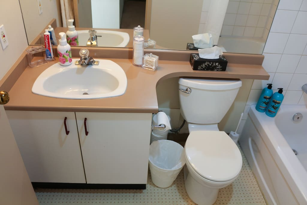 The full bathroom features a bathtub with overhead shower and complimentary toiletries