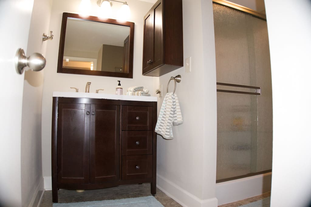 Brand new bathroom with oversized shower and variety