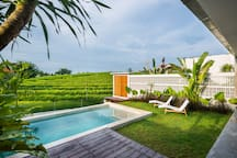 Private pool overlooking rice fields