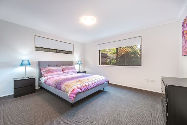 Master Bedroom is West Facing with Built-in Robes & dresser,