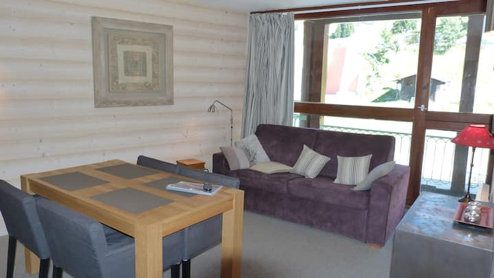 Very nice 2-rooms flat fully renovated for 4 guests, overlooking the slopes, ski in ski out and close to the shops in the Villards village in Arc 1800